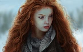 Wallpaper Red, Figure, Look, Hair, Girls