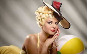 Picture background, makeup, dress, glasses, hairstyle, blonde, hat, beauty, photoshoot, Selena Gomez, promo, Selena Gomez, music …
