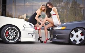Picture look, Girls, cars, beautiful girls, Anya and Lena, Toyota Mark II