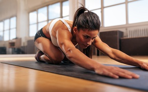Wallpaper brunette, floor, Fitness, elongation exercises