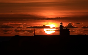 Picture the sun, sunset, lighthouse, silhouette