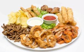 Picture shrimp, sauce, crackers, appetizer, chips