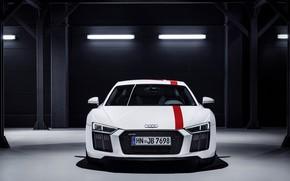 Picture machine, background, the dark background, white color, Audi R8 RWS 2018
