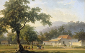 Picture landscape, oil, picture, canvas, View of the House of the Assistant Resident of Banyuwangi, Auguste ...