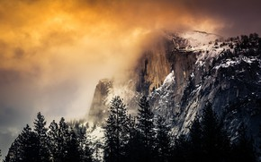 Picture mountains, fog, cloud