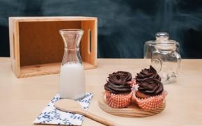 Picture bottle, chocolate, milk, cream, dessert, cakes, cupcakes