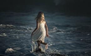 Picture wave, squirt, girl, Dark Ocean