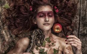 Picture girl, Apple, snake