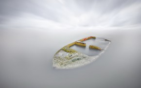 Picture nature, fog, lake, boat