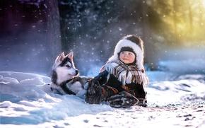 Wallpaper boy, husky, winter, child, puppy, light, dog