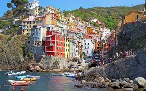 Picture rocks, travel, Villa, boats, sea, coast, Riomaggiore, Italy, houses