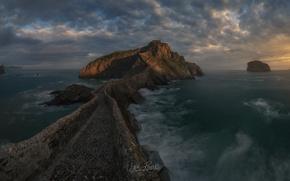 Picture road, sea, clouds, rocks, Cape