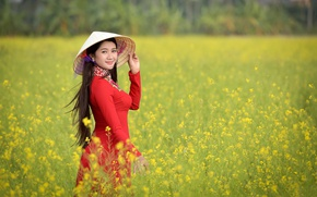 Picture field, girl, face, dress