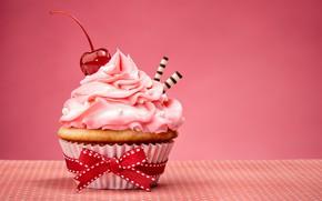 Picture bow, cake, cream, Happy Birthday, pink, sweet, cupcake, cupcake, cream, dessert