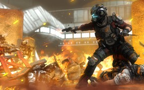 Picture rendering, fire, war, soldiers, helmet, pilot, Titanfall 2, Jack Cooper