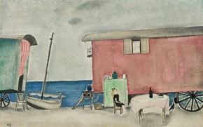 Picture sea, beach, girl, table, boat, red, trailer, Gypsy camp, 1919, Tsuguharu, Fujita