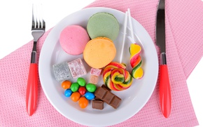 Picture table, chocolate, cookies, plate, candy, knife, sweets, lollipops, pink, plug, serving, swipe