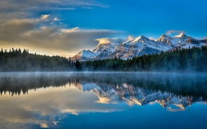 Picture the sky, clouds, mountains, lake, reflection, calm, morning, Canada, haze, Banff National Park, Canada, Herbert …