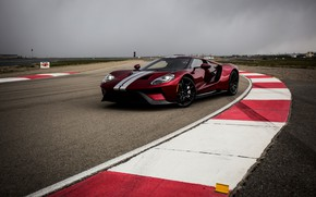 Wallpaper Ford GT, curbs, markup, asphalt, track, overcast, the sky, Ford