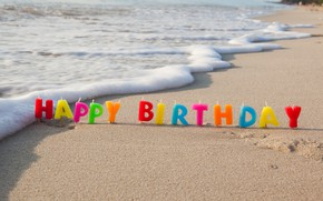 Wallpaper candles, candle, colours, beach, beach, Birthday, sand, sea, sand, sea, colorful, celebration, decoration, Happy Birthday