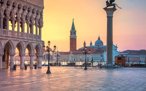 Picture Italy, Venice, Piazzetta, The Doge's Palace, Column Of St. Mark