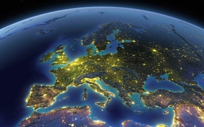 Wallpaper Earth, planet, Europe, The Mediterranean sea, lights