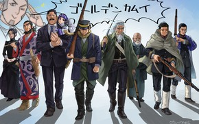 Picture group, anime, characters, Golden Kamuy