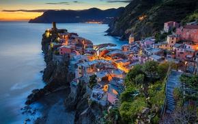 Picture sea, mountains, night, lights, rocks, home, Italy, Vernazza, Cinque Terre, Liguria