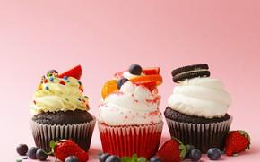 Picture berries, cream, dessert, cakes, fruit, cupcakes, cupcakes