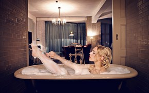 Picture Girl, Blonde, Lips, Actress, Hairstyle, Bath, Lipstick, Actress, Julia Dietze, Julia Ditse