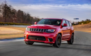Picture car, red, speed, Jeep, Cherokee, Jeep Grand Cherokee Trackhawk, Grand Cherokee Trackhawk