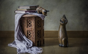 Wallpaper figures, shawl, cats, figurines, books, style