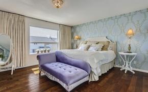 Picture design, bed, mirror, bedroom
