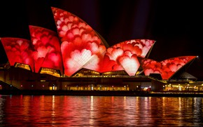 Picture sea, water, night, red, bright, the city, lights, glare, darkness, pattern, the building, color, building, …
