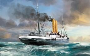 Picture sea, wave, ship, Transatlantic Ships, ammonia
