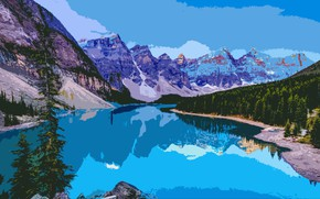 Picture trees, mountains, river, spruce, painting, valley of the ten peaks., ten peaks