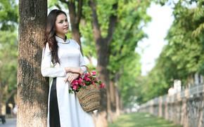 Picture girl, flowers, basket, dress, Asian, Vietnamese