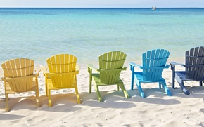 Picture sand, sea, mood, shore, chairs