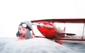 Picture baby, the airplane, the plane, child, pilot, baby, headset