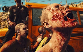 Picture city, zombie, blood, game, shield, cop, school bus, Dead Islad, Dead Islad 2