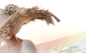 Picture sea, summer, girl, face, hair, hat