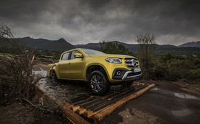 Picture road, water, yellow, Mercedes-Benz, pickup, 2017, X-Class, drains