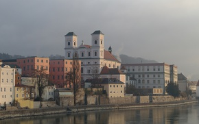 Picture river, home, Germany, Bayern, Passau, Inn