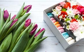 Picture box, roses, cookies, tulips, Chrysanthemum, Wild flowers