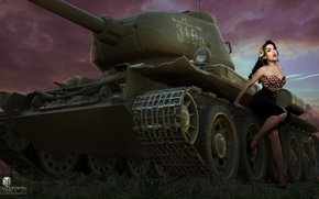Wallpaper T-34, tank, girl, figure, World of Tanks, average, Soviet, art, Nikita Bolyakov