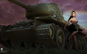 Wallpaper girl, figure, art, tank, T-34, Soviet, average, World of Tanks, Nikita Bolyakov