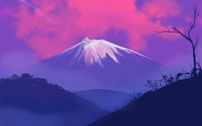 Picture landscape, nature, sunset, Mountain, art, tree, hills, digital art, artwork, plants, silhouette, painting art, snowy …