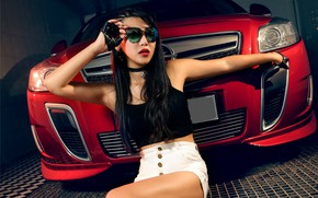 Picture look, Girls, Opel, Asian, beautiful girl, red car