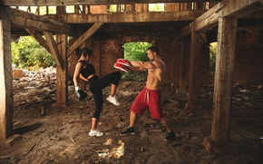 Picture girl, Boxing, blow, the ruins, gloves, guy, two, athletes, training