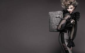 Picture dress, bag, hairstyle, grey background, fashion, chic, Pivovarova, silver